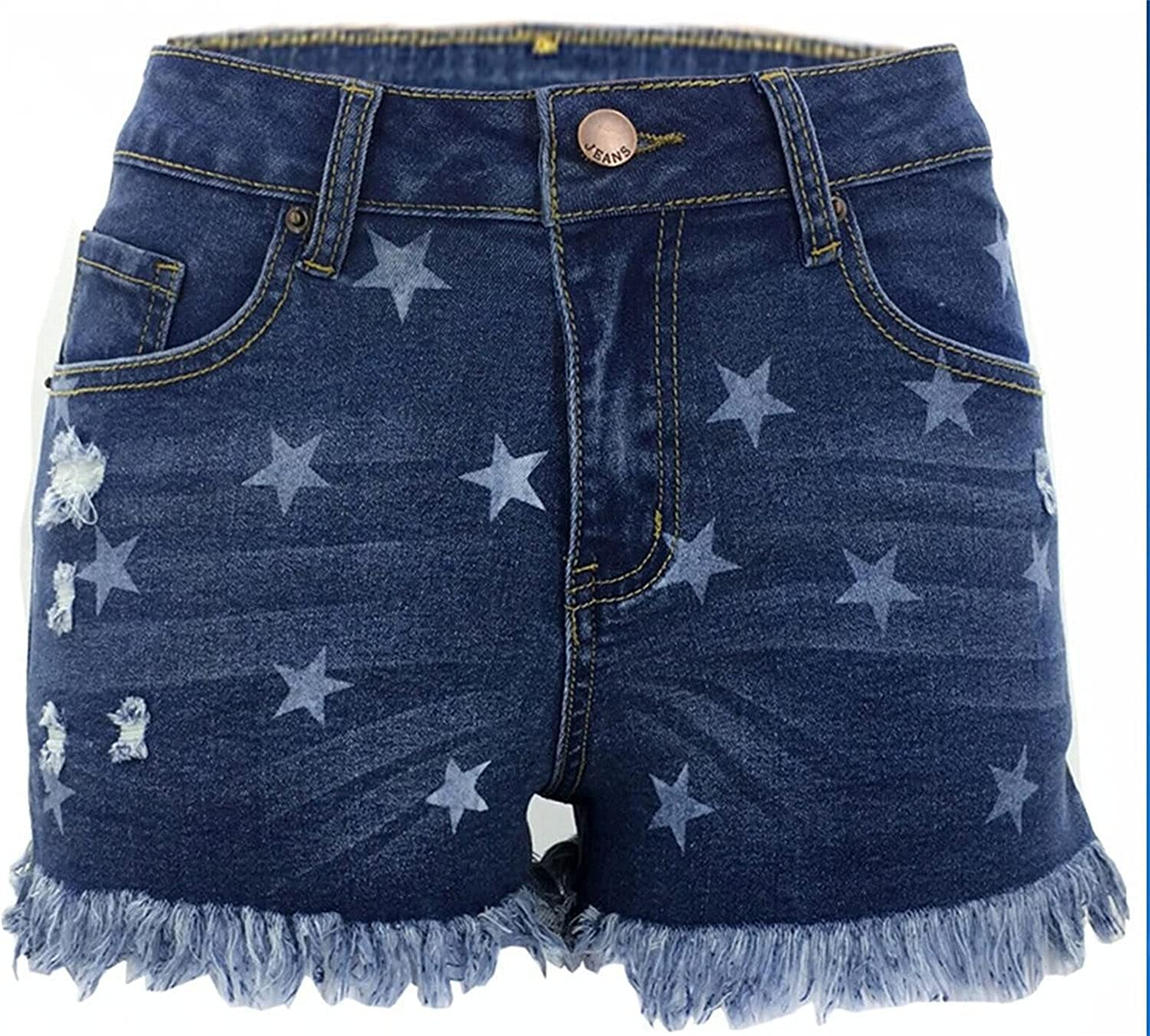 Women's Frayed Raw Hem Casual Denim Shorts Mid Rise Printed Ripped Jeans Hot Shorts Cute Jean Short-pant with Pockets