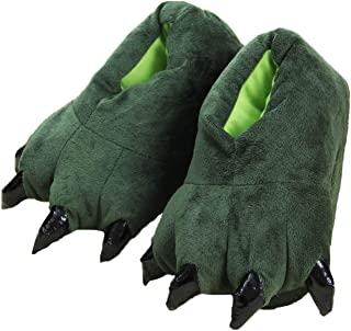Adultes/Enfants Peluche Animal Patte Claw Chaussures,Unisexe Vert drôle Animal Peluche Dinosaure Claw Chaussons
