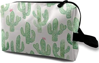 Cactus Print Travel Makeup Cute Cosmetic Case Organizer Portable Storage Bag for Women