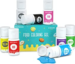 8 Color Gel Food Coloring Set, Nomeca Vibrant Icing Colors Tasteless Edible Food Dye - .44 Fl Oz (12.5g) Bottles, Vegan Gl...