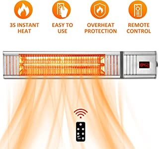 Patio Heater - Outdoor Heaters w/Remote Control, Electic Patio Heater w/3s-Fast Heating System, Super Quiet Wall-Mounted Patio Heater for Large Room, Patio Heater for Garage, Backyard, Office, 1500W