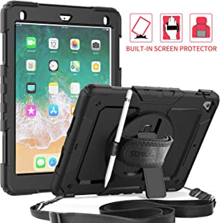 iPad 5th/6th Generation 9.7 Case, SEYMAC Full Body Protection Case with Built-in Screen Protector Pencil Holder [360 Rotating Hand Strap] Stand Shoulder Strap for iPad 5th/ 6th Generation 9.7 (Black)