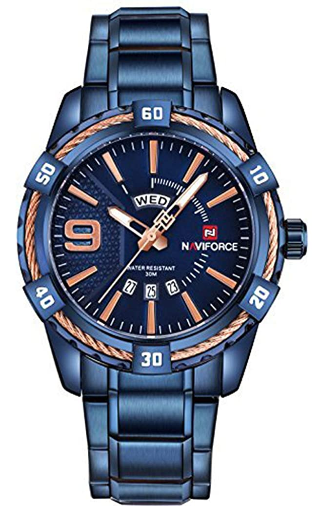 Mens Quartz Watch,Business Casual Analog Wrist Watch Luxury Exquisite Gift,Classic Calendar Date Window,Waterproof 30M Water Resistant Wear-Resistant Stainless Steel Band-Blue smhs9923425627