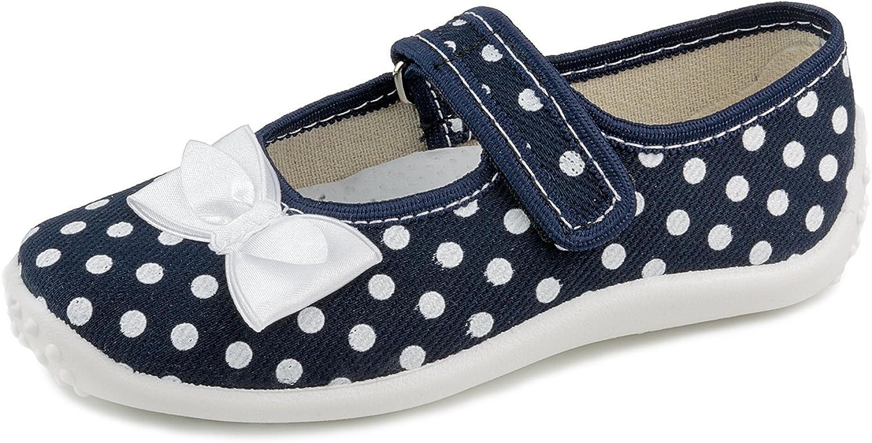 Zetpol Julia 5947 Little Girls' Polka Dots Navy Blue Hook-and-Loop Natural Canvas Mary Jane Flat