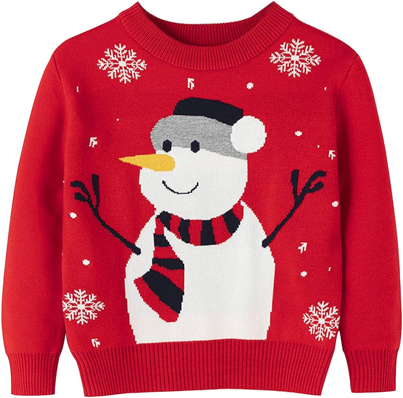 Yinbwol Toddler Boy Girl Christmas Sweater Kids Knite Leopard Pullover Xmas Reindeer Elk Snowman Cartoon Sweatshirts Tops