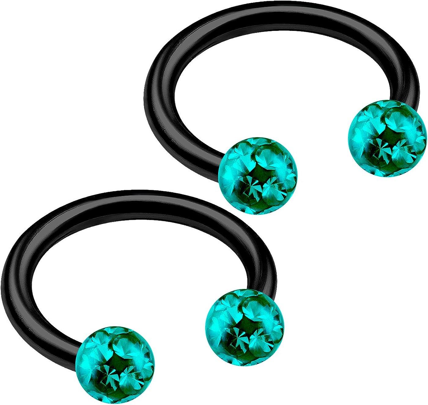 bodyjewellery 2pcs 16g Circular Barbell Black Titanium G23 Ear Helix Lip Eyebrow Tragus Nose Snake Septum Cartilage Bite Ring B2ICT