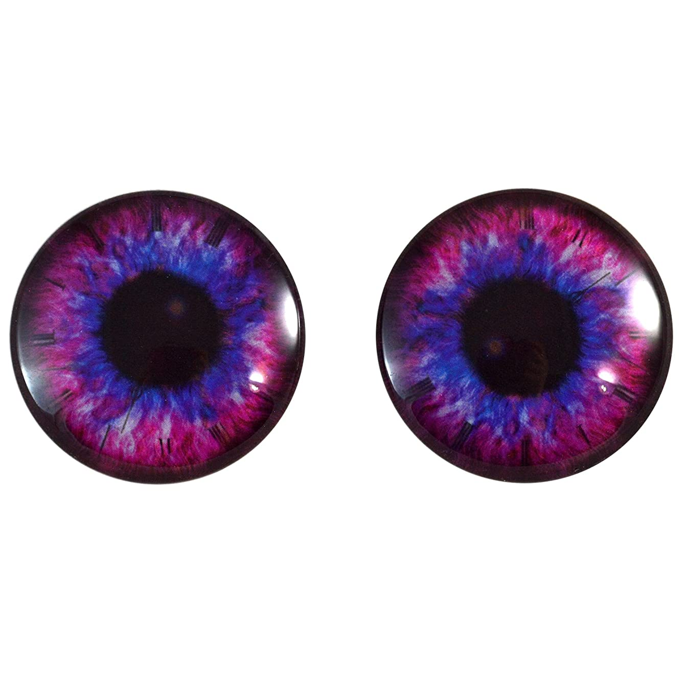 40mm Pair of Pink and Blue Steampunk Clock Glass Eyes, for Jewelry Making, Dolls, Sculptures, More