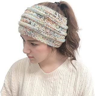 Vpogn Cable Knit Ear Warmer Headband Winter Fleece Lined Headwrap (White)