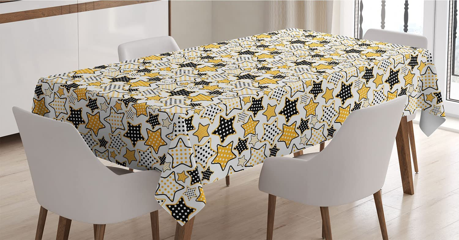 Ambesonne Yellow Dedication Miami Mall Tablecloth and Black Stars Retro with S