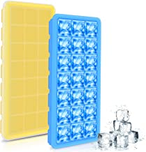 Ice Cube Trays, Toplus 2-Pack Ice Cube Molds with Lids, 42 Ice Cubes, BPA Free, Easy Release Silicone Ice Cube Makers for Whisky, Cocktail, Drinks (Yellow & Blue)