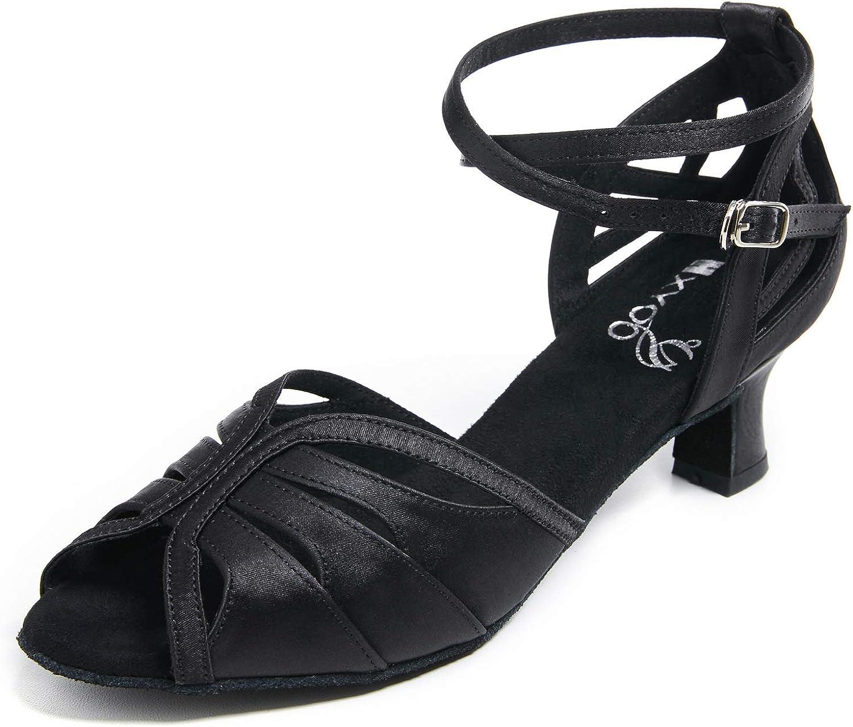 HXYOO Ballroom Dance Shoes for Women Salsa Latin Indoor Party Wedding S01