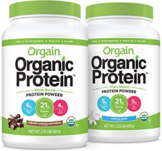 Orgain Bundle - Chocolate and Vanilla Bean Protein Powder - (20 Servings Each) Vegan, Low Net Carbs, Made Without Dairy, G...