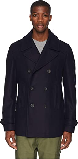 Durdan Mid-Weight Wool Melton Peacoat
