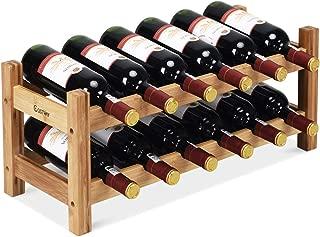 COSTWAY Wine Rack, Bamboo 12 Bottles 2-Tier Wine Display Rack for Countertop Home Kitchen Pantry, Free Standing Wine Storage, Rack Tabletop Wine Rack (Bamboo)