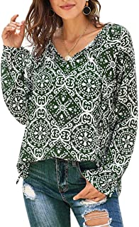 Roseseedlove Women Boho Floral Print Shirts V Neck Long Sleeve Tops Casual Loose Drawstring Chiffon Flowy Blouses
