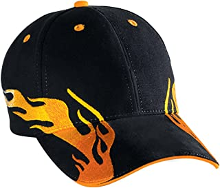 Otto Caps Flame Pattern Brushed Cotton Twill Sandwich Visor Two Tone Color Low Profile Pro Style Cap