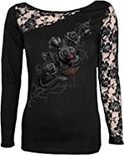 Spiral Womens - Fatal Attraction - Lace One Shoulder Top Black