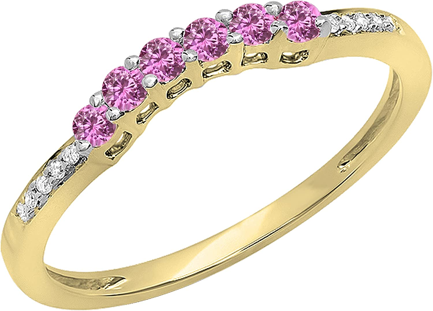 14K Gold Round Pink Sapphire & White Diamond Wedding Stackable Band Guard Ring