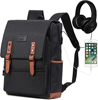 8a80e5405cd3 Vintage Laptop Backpack for Women Men School College Backpack with USB  Charging Port Fashion Backpack Fits