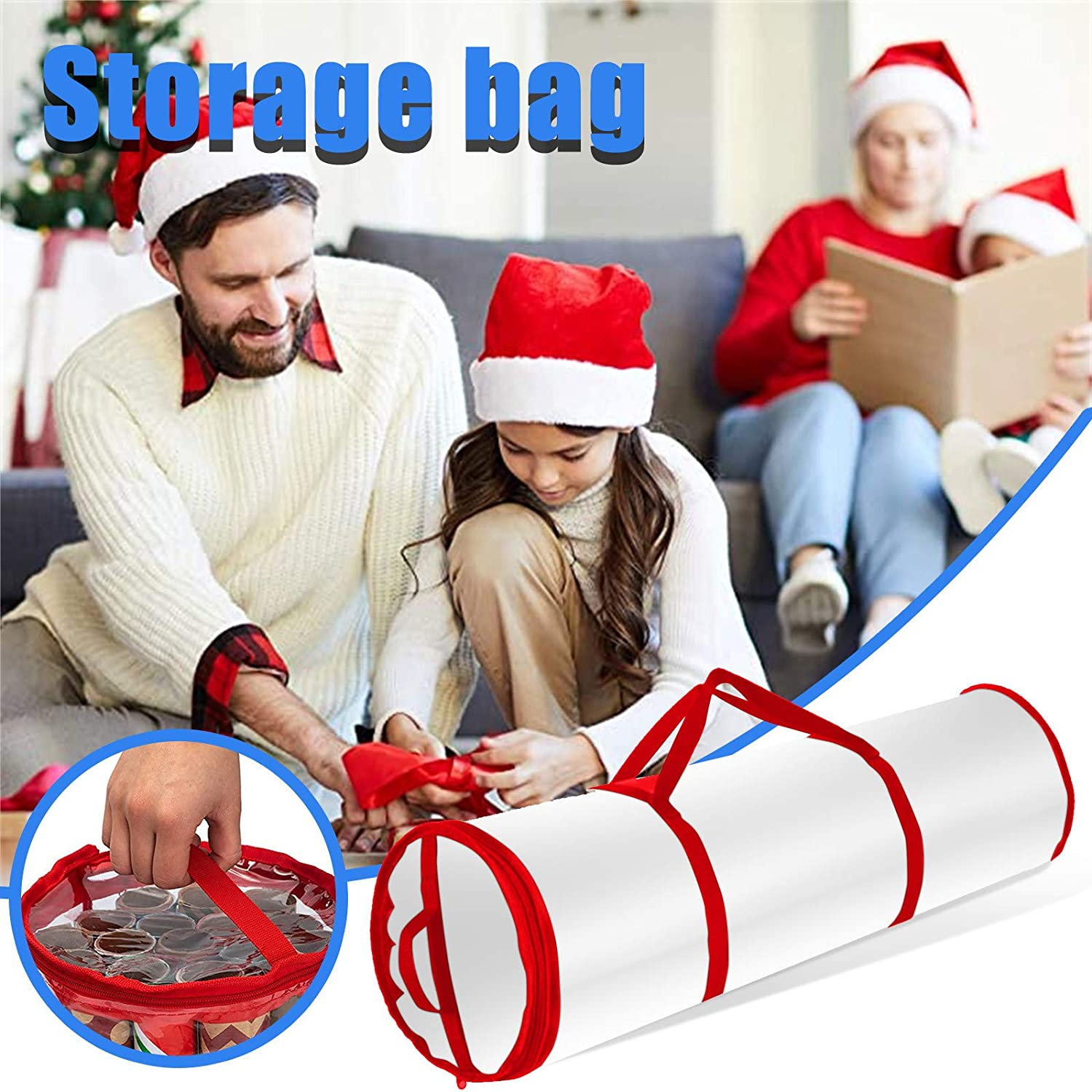 Water Proof PVC Fabric Fits 14 to 20 Rolls Slim Design Underbed Wrapping Paper Storage Container or Closet Storage Gift Wrap Organizer Bumplebee Christmas Wrapping Paper Storage Bag Clear