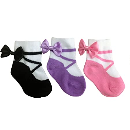 Anti slip-Soft Cotton-6 Pairs Gift Pouch Baby Girl Socks that look like shoes- 3-12 Months Baby Shower Gift MARY JANE CLASSICS