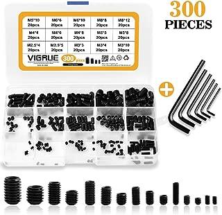 VIGRUE 300Pcs M2.5/M3/M4/M5/M6/M8 Hex Allen Head Socket Set Screw Bolts Assortment Kit Grub Screw with Internal Hex Drive, 12.9 Class Alloy Steel (Metric)