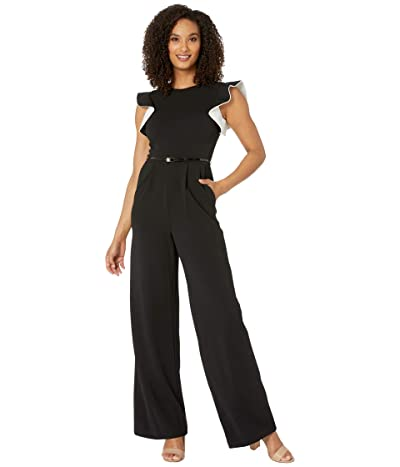 Calvin Klein Ruffle Arm Jumpsuit with Contrast Lining (Black/Cream) Women