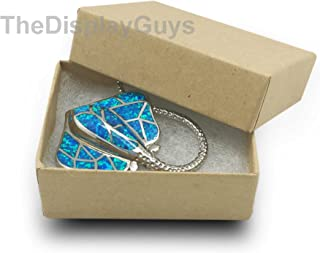 The Display Guys Pack of 25 Cotton Filled Cardboard Paper Kraft Jewelry Box Gift Case - Kraft (1 7/8x1 1/4x5/8 inches #10)