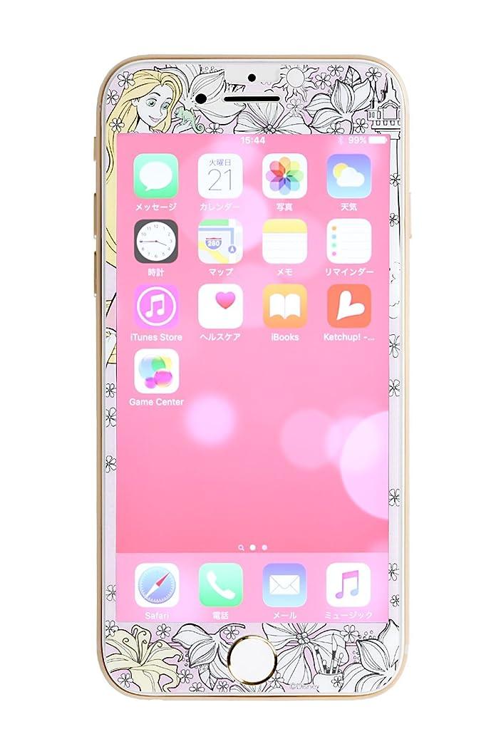 ピーブフリンジ気づくなるディズニー iPhone8/7/6s/6 ガラスフィルム キャラクター 液晶保護フィルム 9H 0.33mm / ラプンツェル