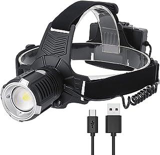 2200LM 6500K High Power XHP70 Strong Light Highlight Headlight USB Charging Outdoor Fishing Focusing Headlight High Quality