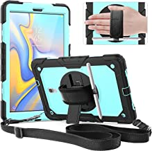 Timecity Samsung Galaxy Tab A 10.5 Case,SM-T590 T595 T597 2018 Release Rugged Case with 360 Rotation Kickstand/Hand Strap S Pen Holder Screen Protector case for Galaxy Tab A 10.1 Tablet-Black+SkyBlue