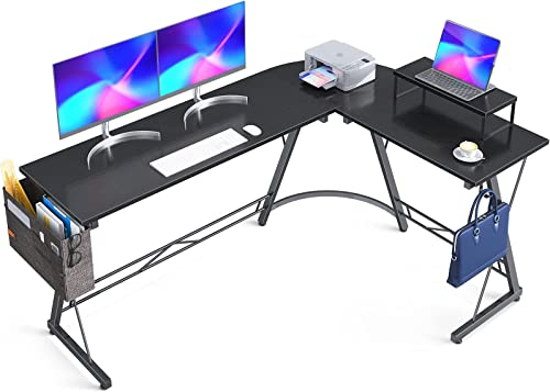 """popular Casaottima L Shaped Desk, 66"""" Gaming Desk, Computer Desk, L Desk, Home Office Desk 2021 with lowest Iron Hook, Movable Monitor Stand Workstation, Black sale"""