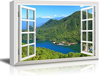 wall26 - Canvas Wall Art - Window Peering into a Mountain Range with a Peaceful River Below - Giclee Print Gallery Wrap Modern Home Decor Ready to Hang - 32x48 inches