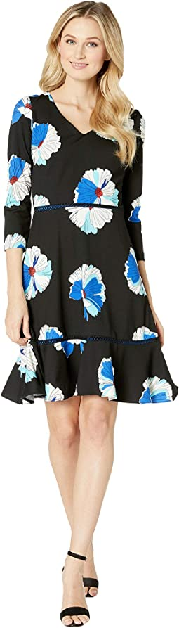 Bracelet Sleeve V-Neck Floral Print Dress
