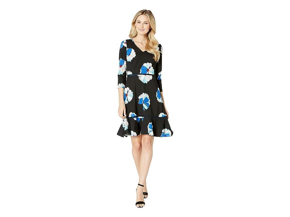 Taylor Bracelet Sleeve V-Neck Floral Print Dress (Black/Cobalt) Women