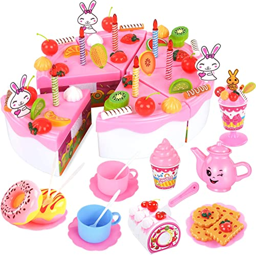 lowest TEMI Pretend Birthday Cake for Kids, DIY 99 PCS Decorating Party Play Food Toys Set w/ Candles Fruit Dessert, Educational Kitchen Toy for online sale Children, Toddlers, high quality Boys & Girls, Aged 3 4 5 Year Old outlet sale