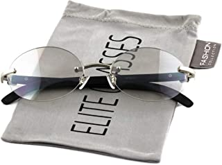 Retro Wood Buffs Vintage Style Gangster Rimless Clear Lens Oval Eye Glasses