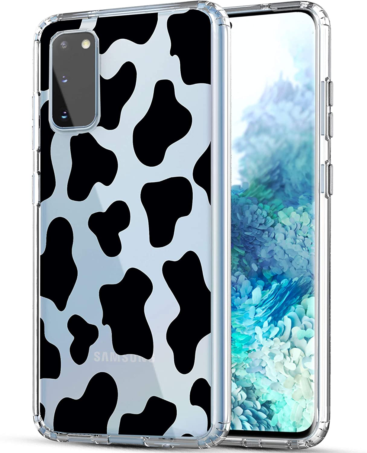 Galaxy S20 Case, RANZ Anti-Scratch Shockproof Series Clear Hard PC + TPU Bumper Protective Cover Case for Samsung Galaxy S20 (6.2 inch) [Does NOT fit S20 FE] - Cow Print