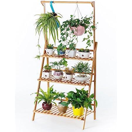 Bamboo 3-Tier Hanging Plant Stand Planter Shelves Flower Pot Organizer Rack Folding Display Shelving Plants Shelf Unit Holder