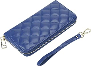Rnker Multi-purpose Genuine Leather Women Wallets /Clutch Wallet /Wristlet /Handbags Wallet/ Cellphone Case Fit for Iphone, Galaxy and All Cellphones (Blue)