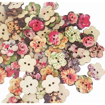 100Pcs Color Mezclado Redondo Botones Madera Ropa Suéter De Costura Para Niños