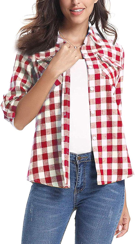 AKEWEI Women's Plaid Flannel Long Sleeve Shirt Casual Collared Button Boyfriend Blouse