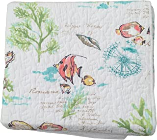 Sigrid Olsen Home Under The Sea Quilt Popping with Bright Exotic Island Ocean Life Color and Soft Subtle Script - Twin Quilt