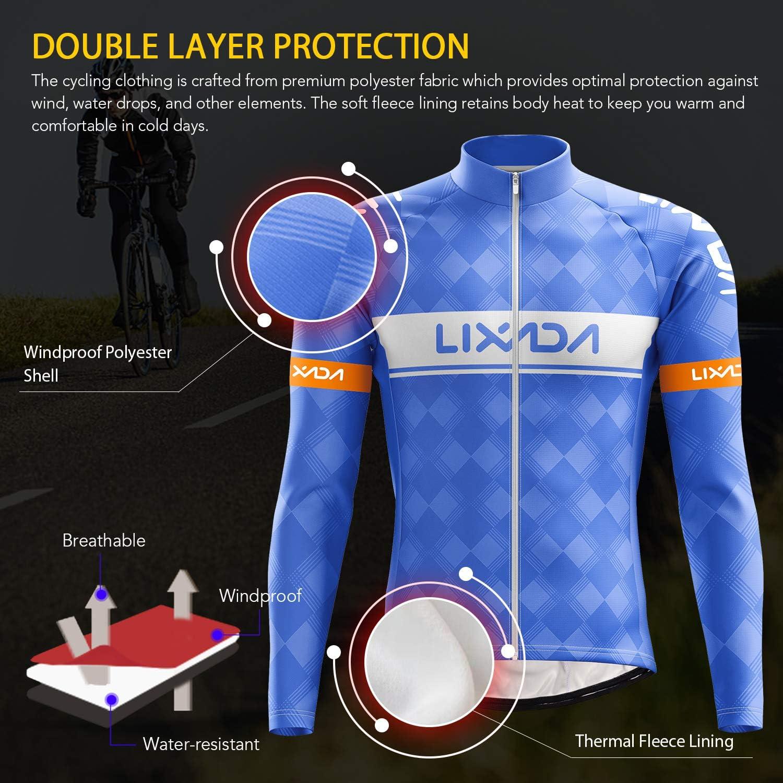 cortavientos y pantalones acolchados en 3D Lixada Conjunto de jersey de ciclismo de invierno para hombre manga larga forro polar