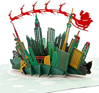 Paper Love Skyline Santa Sleigh Pop Up Christmas Card, Handmade 3D Popup Greeting Cards for Christmas, Holiday, Xmas, Business, Gift