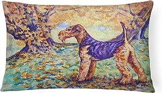 Caroline's Treasures 7343PW1216 Autumn Airedale Terrier Fabric Decorative Pillow, Large, Multicolor