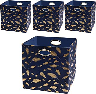 Posprica Foldable Storage Bins - 13x13 Fabric Storage Cubes Basket Boxes Containers Drawers (4pcs, Navy Feathers)