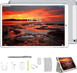 Tablet 10.1 Pulgadas Android 9.0 2 en 1 Tablet PC 4GB RAM+64GB ROM/128GB de Memoria Octa-Core 8000mAh Dual Ranuras para Tarjetas SIM 8MP+5MP Cámara OTG/BT/GPS Tablets de Función de Llamada (Plata)