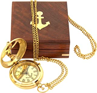SaiArtGallery Wooden Sundial Style Pocket Watch with Chain and Sheesham Box (Golden, Brown)