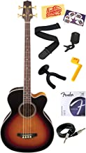 Takamine GB72CE G Series Jumbo Cutaway Acoustic-Electric Bass Guitar with Rosewood Fretboard Bundle with Strings, Strap, Instrument Cable, Wall Hanger, Tuner, Stringwinder, Picks, and Polishing Cloth - Brown Sunburst